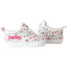 Buy My 1st Years Baby Personalised Ditsy Print Trainers, Multi Online at johnlewis.com