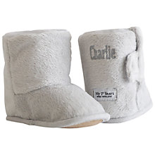 Buy My 1st Years Personalised Slipper Booties, Grey Online at johnlewis.com
