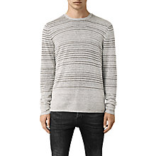 Buy AllSaints Brakken Stripe Linen Jumper, Grey Marl Online at johnlewis.com