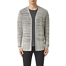 Buy AllSaints Brakken Stripe Linen Cardigan, Grey Marl Online at johnlewis.com