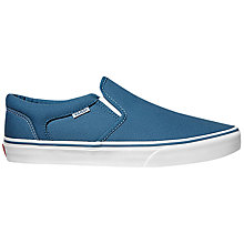 Buy Vans Asher Slip On Shoes, Blue/White Online at johnlewis.com
