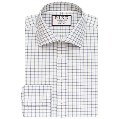 Image of Thomas Pink Goodall Check XL Sleeve Slim Fit Shirt, White/Navy