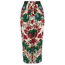 Buy Warehouse Floral Wrap Midi Skirt, Copper Online at johnlewis.com