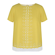 Buy Celuu Bea Laser Cut Top, Yellow Online at johnlewis.com