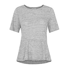 Buy Whistles Linen Peplum T-Shirt, Grey Marl Online at johnlewis.com