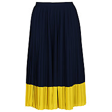 Buy Whistles Colour Block Pleat Skirt, Navy/Yellow Online at johnlewis.com