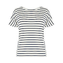 Buy Warehouse Panel Stripe T-shirt, White Online at johnlewis.com