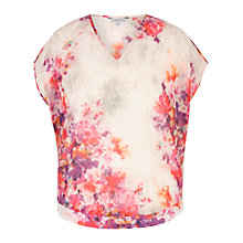 Buy Chesca Sweetpea Print Chiffon Blouse, Cream/Magenta Online at johnlewis.com