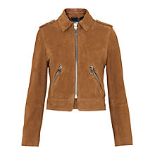 Buy Whistles Suede Brooke Biker Jacket, Tan Online at johnlewis.com