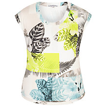 Buy Chesca Fern And Floral Jersey Top, Turquoise/Lime Online at johnlewis.com