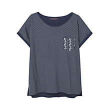 Buy Violeta by Mango Chest Pocket Printed T-Shirt, Navy Online at johnlewis.com