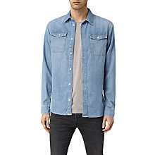 Buy AllSaints Larcaf Long Sleeve Denim Shirt, Light Indigo Blue Online at johnlewis.com