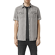 Buy AllSaints Groley Short Sleeve Denim Shirt, Grey Online at johnlewis.com