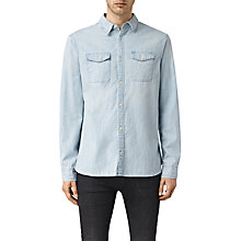 Buy AllSaints Laller Long Sleeve Denim Shirt, Light Blue Online at johnlewis.com