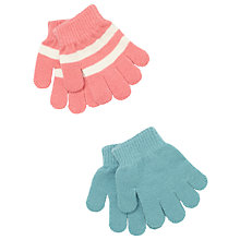 Buy John Lewis Baby Striped Magic Gloves, Pack of 2, Aqua/Pink Online at johnlewis.com