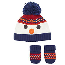 Buy John Lewis Baby Snowman Hat And Mitten Set, White/Multi Online at johnlewis.com
