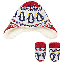 Buy John Lewis Baby Penguin Trapper Hat and Mittens Set, Red Online at johnlewis.com