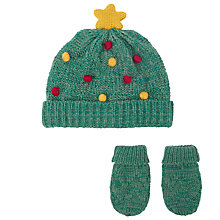 Buy John Lewis Baby Christmas Tree Hat and Mittens Set, Green Online at johnlewis.com