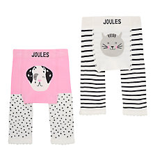 Buy Baby Joule Dog And Cat Leggings, Pack of 2, Cream/Grey Online at johnlewis.com