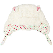 Buy John Lewis Baby Faux Fur Trapper Hat, Cream Online at johnlewis.com