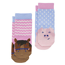 Buy Baby Joule Happy Farmyard Socks, Pack of 2, Assorted Online at johnlewis.com