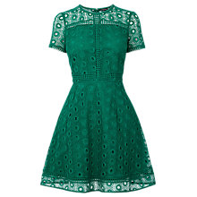 Buy Warehouse Mixed Lace Prom Dress, Bright Green Online at johnlewis.com