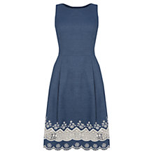 Buy Oasis Denim Broderie Hem Dress, Blue Online at johnlewis.com