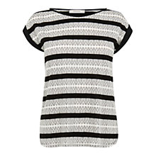 Buy Oasis Lace Stripe Boyfriend T-Shirt, Multi Online at johnlewis.com