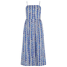 Buy Warehouse Printed Midi Cotton Dress, Blue Online at johnlewis.com