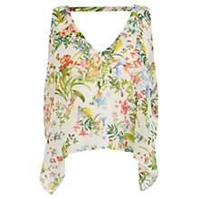 Buy Oasis Botanical Chiffon Overlay Top, Mid Neutral Online at johnlewis.com