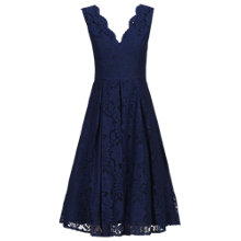 Buy Jolie Moi V-Neck Pleated Lace Dress, Navy Online at johnlewis.com