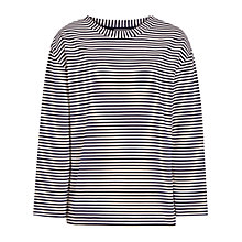 Buy Reiss Tallie Stripe Button Top, Night Navy Online at johnlewis.com