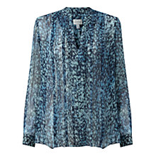 Buy Jigsaw Shadow Floral Blouse, Petrol Online at johnlewis.com