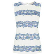 Buy Oasis Chambray Lace Stripe Top, Off White Online at johnlewis.com
