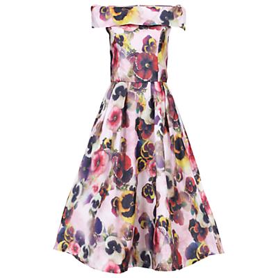 Jolie Moi 3D Floral Print Bardot Dress, Pink