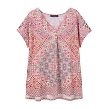 Buy Violeta by Mango Printed Linen T-Shirt, Medium Pink Online at johnlewis.com