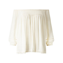 Buy Miss Selfridge Crinkle Trim Bardot Top, Cream Online at johnlewis.com