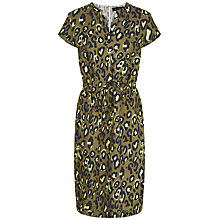 Buy Jaeger Linen Animal Print Dress, Khaki Online at johnlewis.com