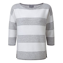 Buy Pure Collection Talbot Cotton Stripe Jumper, Grey/White Online at johnlewis.com