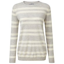 Buy Pure Collection Parker Cashmere Boyfriend Jumper, Iced Grey/Soft White Online at johnlewis.com