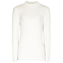 Buy Reiss Eliza Textured High Neck Top, White Online at johnlewis.com