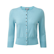 Buy Pure Collection Raegan Crop Cashmere Cardigan, Soft Aqua Online at johnlewis.com