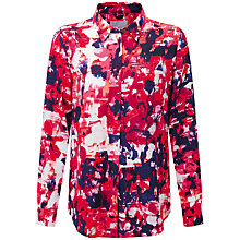 Buy Pure Collection Gascoigne Washed Silk Blouse, Pink Abstract Print Online at johnlewis.com