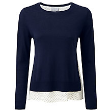 Buy Pure Collection Salvador Linen Silk Double Layer Jumper, Navy/White Online at johnlewis.com