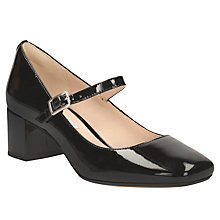 Buy Clarks Chinaberry Pop Smart Court Shoes, Black Patent Leather Online at johnlewis.com