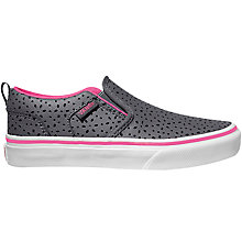 Buy Vans Children's Asher Flower Perferations Shoes, Grey/Pink Online at johnlewis.com