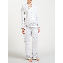 Buy John Lewis Embroidered Daisy Pyjama Set, Ivory/Grey Online at johnlewis.com