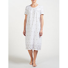 Buy John Lewis Embroidered Daisy Nightdress, Ivory/Grey Online at johnlewis.com