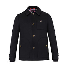 Buy Ted Baker Osmond Collared Overcoat, Navy Online at johnlewis.com