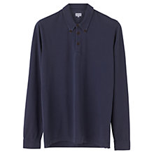 Buy Jigsaw Cotton Pique Long Sleeve Polo Shirt, Washed Navy Online at johnlewis.com